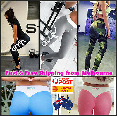 Women Running Yoga Gym Sports Pants Fitness Workout Jogger Tights Butt Booty Fit