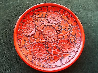 Chinese Carved Red Cinnabar Lacquer Flowers Decorative Plate 5.5""
