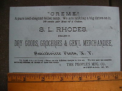 S. L. Rhodes Dry Goods & Merchandise Smithville Flats Ny Reprint Of Trade Card