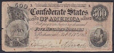 1864 $500 Five Hundred Dollar Bill Confederate States of America  Note