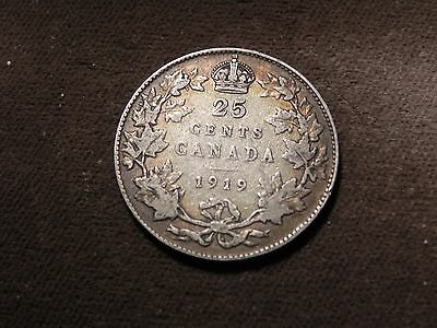 Canada 1919 25 Cents  Sterling Silver Quarter George  V