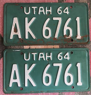 UTAH 1964 License Plate SET Green White Letters Matched AK 6761 ~~