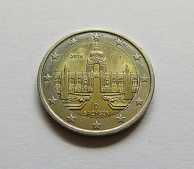 Germany 2 Euro 2€ 2016 F Saxonia Coin Dresden Zwinger Baroque Palace