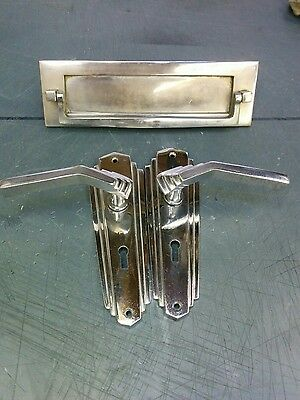 ART DECO style door handle and letter plate.