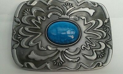 Pewter & Faux Turquoise, Native Amercan Style Belt Buckle.