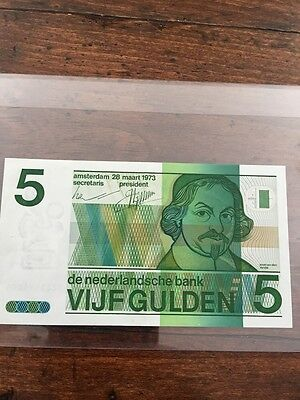 Netherland  One (1) Five Guelden 1973 de nederlandsche bank VIJF GULDEN>VF Notes