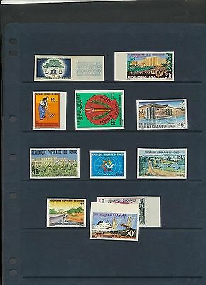 Congo PR  11 different IMPERF comp issues NH except 1 stamp