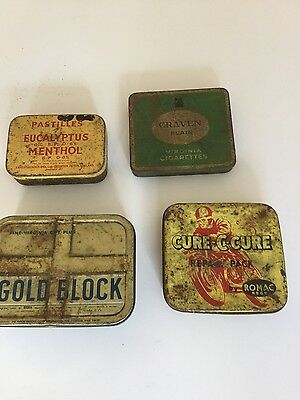 4 vintage old tin boxes