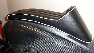Lambretta Race style seat full length Black with White piping