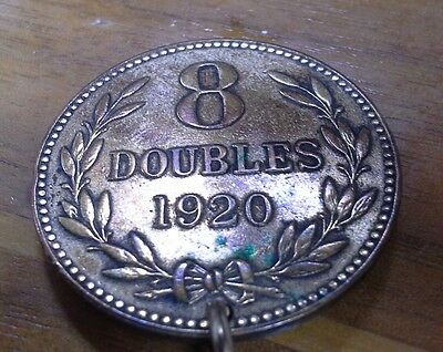 1920 British Channel island Guernesey 8 Doubles coin pendant