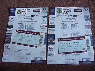 2016/17 Burnley v West Ham United   TEAMSHEET with TICKET