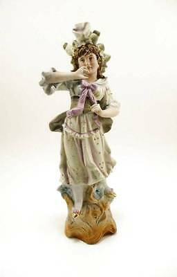ANTIQUE German Bisque Figurine MAIDEN w BONNET in Pastel Colors