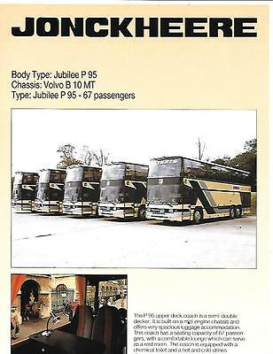 Uk Volvo B 10 Mt Chassis Jonckheere Jubilee P95  Bus Coach Brochure-Sheet  2006