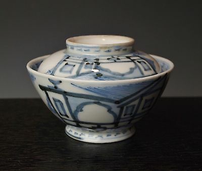 ANTIQUE 1800s JAPANESE BLUE & WHITE IMARI COVERED BOWL Teahouse Porcelain Chawan