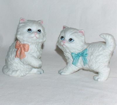 Homco, Home Interiors 2 White Cats Kittens Porcelain #1428