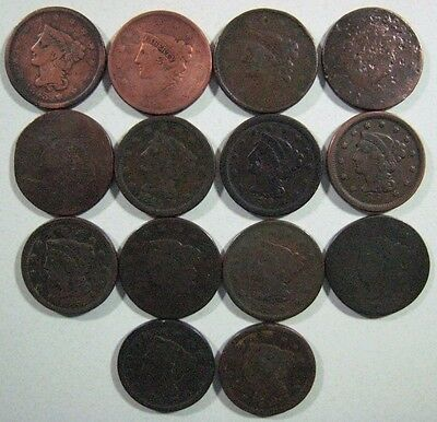 1817-1854 U.S. Large Cents Lot of 14 Different Low Grade **FREE U.S. SHIPPING**