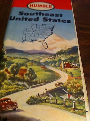 1950 Humble Map Of Southeast United States