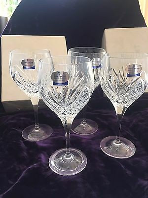 NEW BOXED ROYAL DOULTON FINEST CRYSTAL STRATFORD TABLE WINE GLASSES x 4 SIGNED