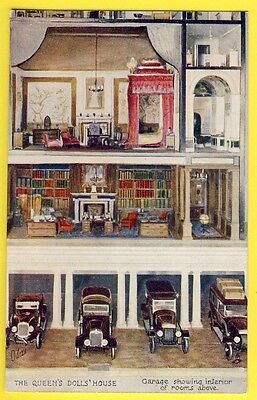 cpa RAPHAEL TUCK Queen's Dolls House THE GARAGE SHOWING INTERIOR OF ROOMS Toy