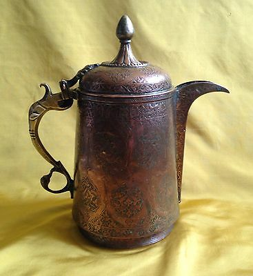 Antique Indo Persian Large Copper Coffee Pot Inscribed