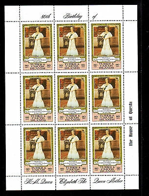 Turk & Caicos #440  1980  Queen Mother Mint Vf Nh  O.g  Sheet Of 9