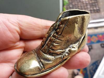 Antique vintage old brass boot ELPEC REG  with two mice Match holder