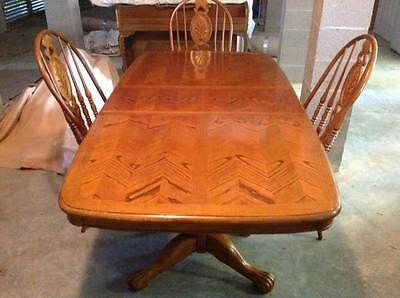 Oak Table and Chairs - Double Pedestal Design