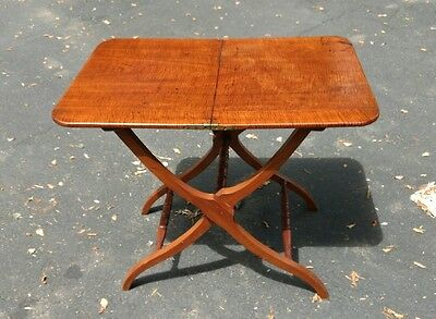 Antique American Tiger Maple or Walnut Folding Table