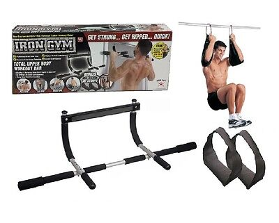 NEW Iron Gym Door Gym Pull Up Push Up Sealed in Retail Box + Ab Straps Included