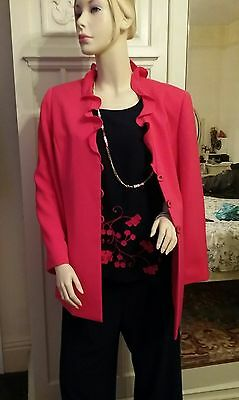 Jacques vert Trouser wedding mother of the bride outfit top & jacket 12/14  Navy