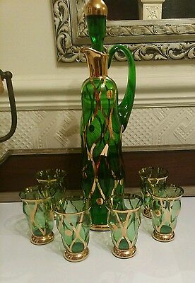 ART DECO Crystal Green Glass DECANTER GOBLETS Gilt Decanter CZECH BOHEMIA