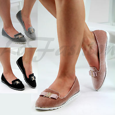 Womens Flat Chunky Sole Loafers Slip On Brogue Bow Embellished Pumps Comfy Shoes