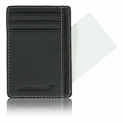 McLaren Official Classic Leather Pocket Gift Compact Black Travel Card Holder