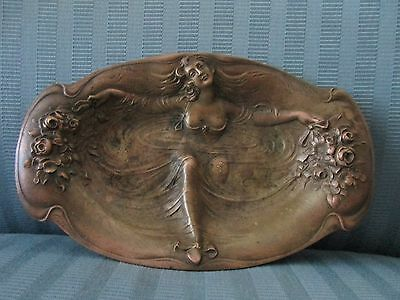 GORHAM BRONZE Art NOUVEAU Ovoid Dish CAST Maiden LADY EMERGING From Water Pool
