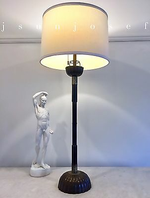 Tall Fluted Bronze Mid Century Lotus Form Lamp - Just Andersen Style