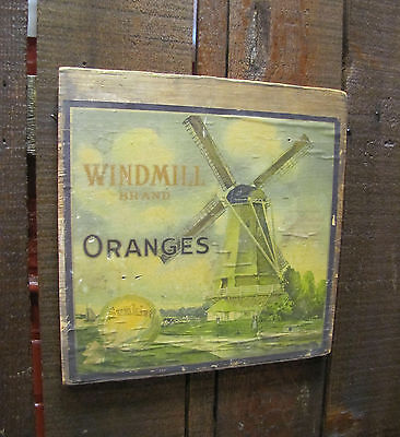 Antique Advertising Crate Label Windmill Brand Sunkist Oranges On Original Wood.