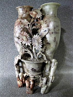 Soapstone Chinese Carved Vase Antique Great Floral Details and Colors  VGC