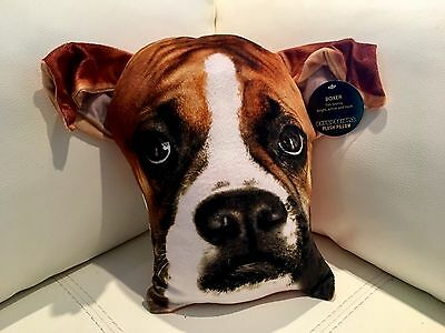 """Plush BOXER Dog Throw Pillow 12.6"""" Realistic Puppy Face by Expressions BRAND NEW"""