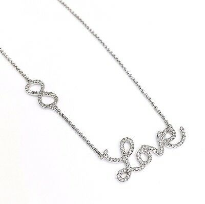 0.41 Carat t.w. Custom Made Infinite Love Necklace 14K Gold Brand New 16 to 18In