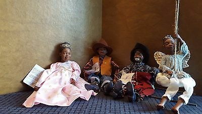 4 Daddy's Long Legs Dolls: Sarah, Peanut, Pistol,Gretchen w/boxes, tags & COA's