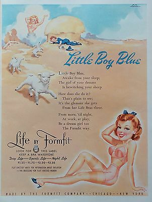 1937 ORIG. PRINT AD FORMFIT BRASSIERES Little Boy Blue the girl of your dreams