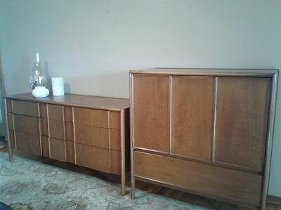 Mid Century Drexel Sideboard/Credenza Dresser and Highboy Vanity Dresser Walnut
