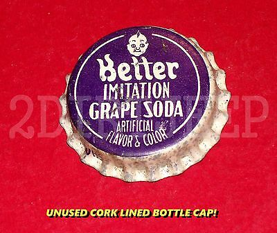 Better Imitation Grape Soda Baby Face Logo Vintage Pop Cork Unused Bottle Cap