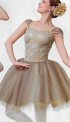"""Perfect Night"" Champagne Long Curtain Call Dance Ballet Costume Tutu Adult LRG"