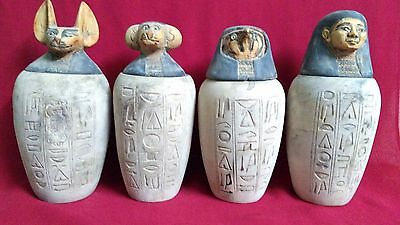 4 Ancient Egyptian canopic jars (990–969 BC)