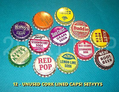 12 Assorted Flavor Soda Buddie Kist & Red Pop Set #yy5 Cork Unused Bottle Caps