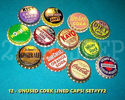 12 Assorted Flavor Soda Coca-Cola Kayo & Dads Set #yy2 Cork Unused Bottle Caps