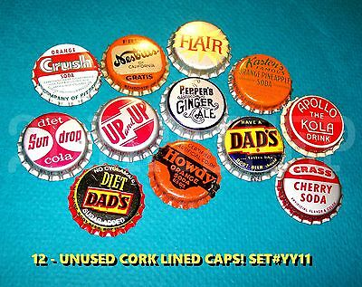 12 Assorted Flavor Soda Crass Apollo & Up/up Set #yy11 Cork Unused Bottle Caps