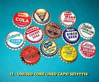 12 ASSORTED FLAVOR SODA HOWDY NEHI & LEARY's SET #YY16 CORK UNUSED BOTTLE CAPS