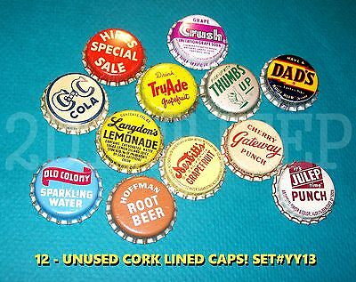 12 Assorted Flavor Soda Julep Truade & Gateway Set #yy13 Cork Unused Bottle Caps